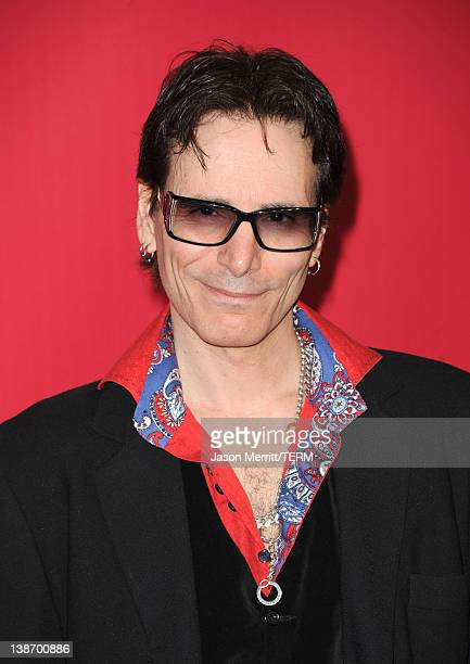 Musician Steve Vai arrives at the 2012 MusiCares Person of the Year Tribute To Paul McCartney held at the Los Angeles Convention Center on February...