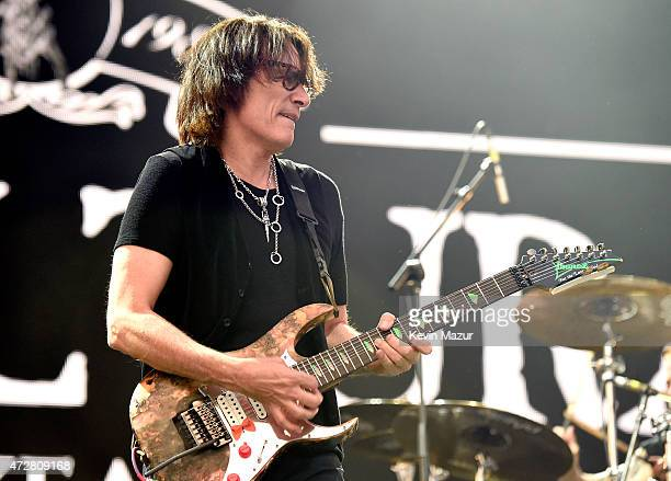 Musician Steve Vai performs with Sepultura onstage during Rock In Rio USA at the MGM Resorts Festival Grounds on May 9, 2015 in Las Vegas, Nevada.