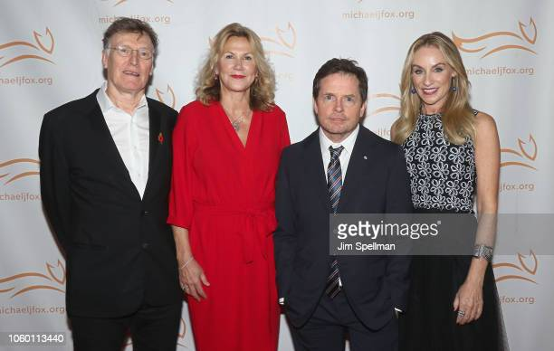 Musician Steve Winwood Eugenia Winwood actors Michael J Fox and Tracy Pollan attend A Funny Thing Happened on the Way to Cure Parkinson's 2018 at the...