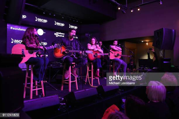 Musician Steven Lee Olsen performs for the CMA Songwriters Series while musicians Tenille Townes SJillian Jacqueline and Jordan Davis look on during...