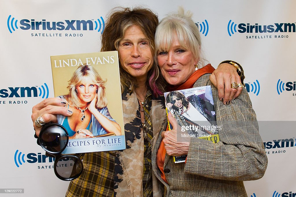 Musician Steven Tyler (L) and actress Linda Evans visit SiriusXM Studio on October 14, 2011 in New York City.