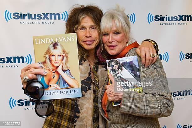 Musician Steven Tyler and actress Linda Evans visit SiriusXM Studio on October 14, 2011 in New York City.