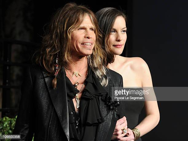 Musician Steven Tyler and actress Liv Tyler arrive at the Vanity Fair Oscar party hosted by Graydon Carter held at Sunset Tower on February 27 2011...