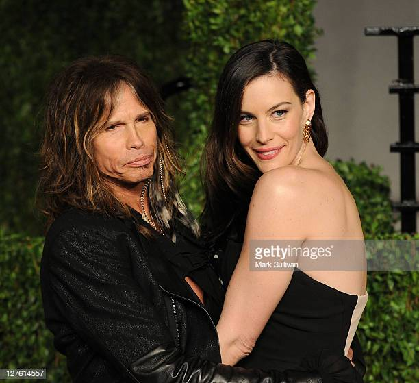 Musician Steven Tyler and actress Liv Tyler arrives at the Vanity Fair Oscar party hosted by Graydon Carter held at Sunset Tower on February 27 2011...
