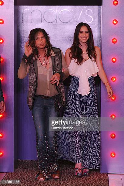 Musician Steven Tyler and daugher Chelsea Tyler walk the runway at the Steven Tyler Andy Hilfiger Host Andrew Charles' Fashion Show at Macy's Sherman...