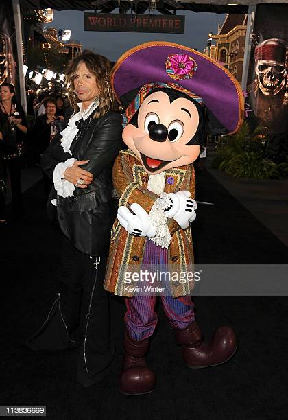 """Musician Steven Tyler and Mickey Mouse arrive at premiere of Walt Disney Pictures' """"Pirates of the Caribbean: On Stranger Tides"""" held at Disneyland..."""