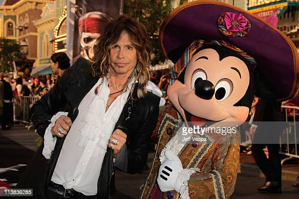 """Musician Steven Tyler and Mickey Mouse arrive at the world premiere of """"Pirates of the Caribbean: On Stranger Tides"""" at Disneyland on May 7, 2011 in..."""