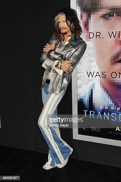 Musician Steven Tyler arrives at the 'Transcendence' Los Angeles Premiere at Regency Village Theatre on April 10 2014 in Westwood California