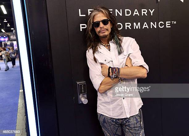 Musician Steven Tyler attends the 2014 National Association of Music Merchants show at the Anaheim Convention Center on January 25 2014 in Anaheim...