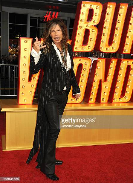 Musician Steven Tyler attends 'The Incredible Burt Wonderstone' Los Angeles premiere held at TCL Chinese Theatre on March 11 2013 in Hollywood...