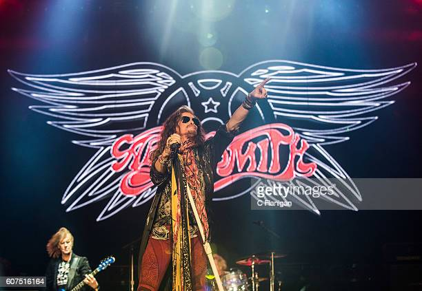 Musician Steven Tyler of Aerosmith performs on the Sunset Cliffs Stage during the 2016 KAABOO Del Mar at the Del Mar Fairgrounds on September 17 2016...
