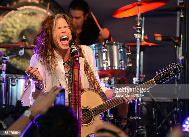 Musician Steven Tyler of Aerosmith performs onstage during the John Varvatos 10th Annual Stuart House Benefit presented by Chrysler, Kids Tent by...