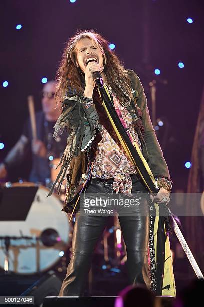 Musician Steven Tyler performs on stage during the Imagine John Lennon 75th Birthday Concert at The Theater at Madison Square Garden on December 5...