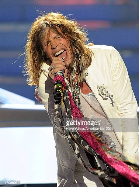 """Musician Steven Tyler performs onstage during Fox's """"American Idol 2011"""" finale results show held at Nokia Theatre LA Live on May 25, 2011 in Los..."""