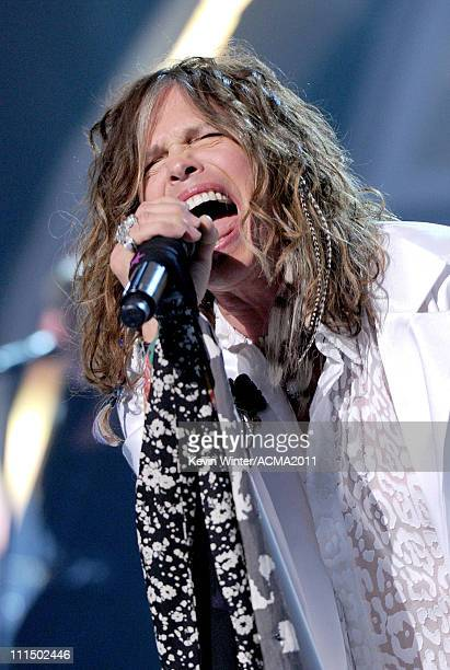 Musician Steven Tyler performs onstage during the 46th Annual Academy of Country Music Awards held at the MGM Grand Garden Arena on April 3, 2011 in...