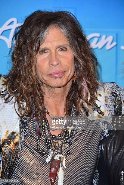 Musician Steven Tyler poses in the press room during Fox's 'American Idol 2012' Finale Results Show at Nokia Theatre LA Live on May 23 2012 in Los...