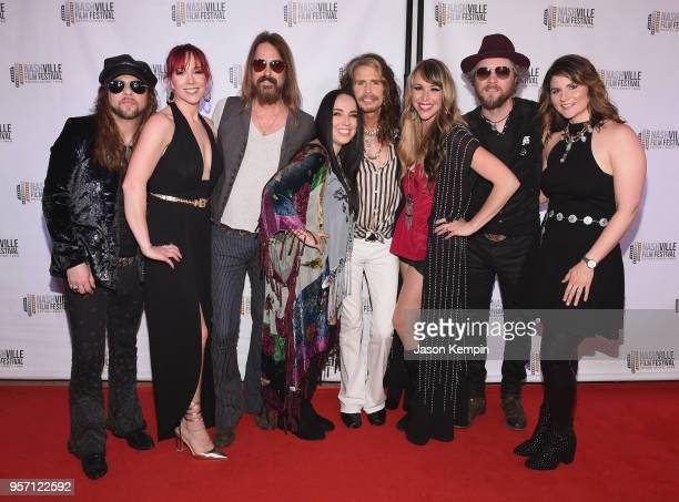 Musician Steven Tyler poses with members of The Loving Mary Band attend the 49th Annual Nashville Film Festival Steven Tyler Out On A Limb World...