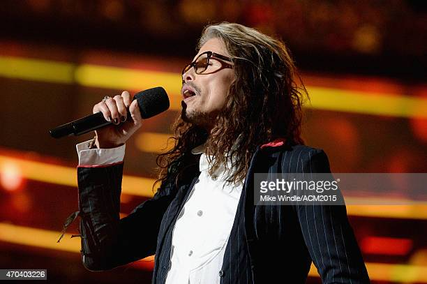 Musician Steven Tyler speaks onstage during the 50th Academy of Country Music Awards at ATT Stadium on April 19 2015 in Arlington Texas