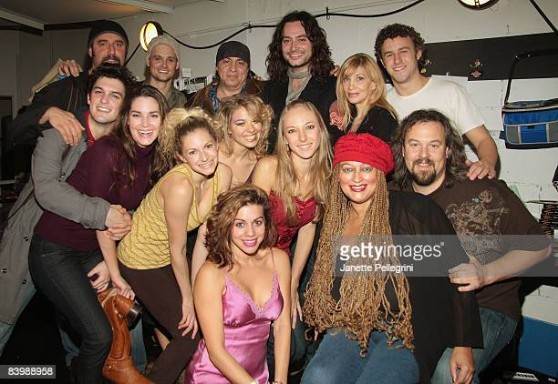 Musician Steven Van Zandt and wife Maureen Van Zandt with Constantine Maroulis and the cast visit 'Rock of Ages' OffBroadway at New World Stages on...