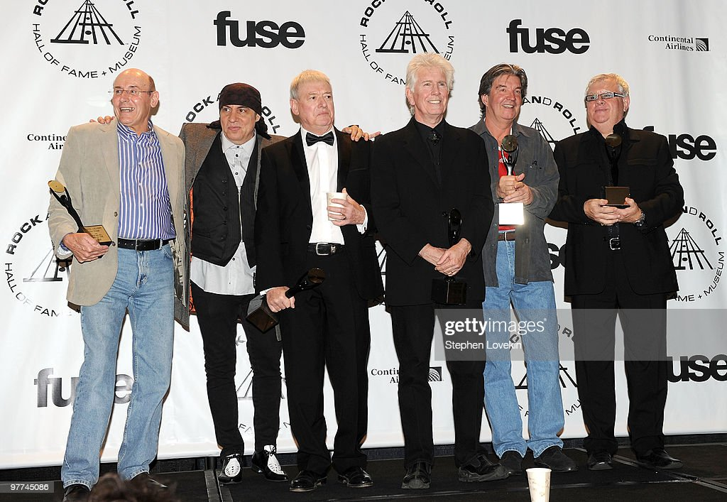 Musician Steven Van Zandt (2nd from L) poses with Inductees Bernie Calvert, Allan Clarke, Graham Nash, Bernie Calvert and Eric Haydock of The Hollies at the 25th Annual Rock And Roll Hall of Fame Induction Ceremony at the Waldorf=Astoria on March 15, 2010 in New York City.