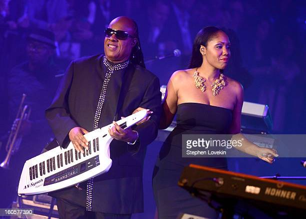 Musician Stevie Wonder and daughter Aisha Morris perform onstage at Bud Light Presents Stevie Wonder and Gary Clark Jr at the Bud Light Hotel on...