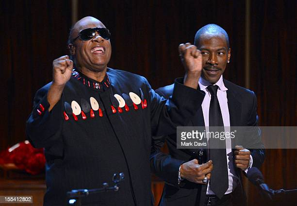 """Musician Stevie Wonder and honoree Eddie Murphy perform onstage at Spike TV's """"Eddie Murphy: One Night Only"""" at the Saban Theatre on November 3, 2012..."""