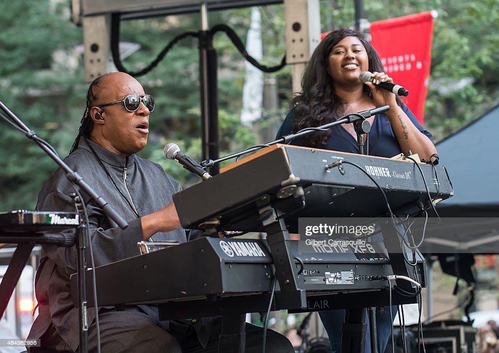 Musician Stevie Wonder and recording artist Jazmine Sullivan perform during Wonder Moments - Songs In The Key Of Life Performance Tour at Dilworth Park on August 17, 2015 in Philadelphia, Pennsylvania.