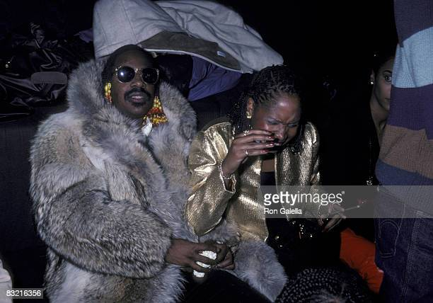 Musician Stevie Wonder and wife Yolanda Wonder attending the preview party for Lunch Hour on November 12 1980 at the Milford Plaza Hotel in New York...