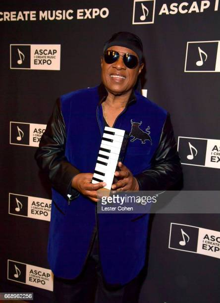 Musician Stevie Wonder attends Stevie Wonder presented with Key of Life Award at the ASCAP I Create Music Expo on April 15 2017 in Los Angeles...