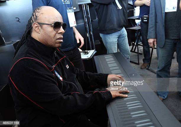 Musician Stevie Wonder attends the 2014 National Association of Music Merchants show at the Anaheim Convention Center on January 25 2014 in Anaheim...