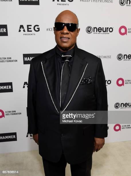 Musician Stevie Wonder celebrates Elton John's 70th Birthday and 50Year Songwriting Partnership with Bernie Taupin benefiting the Elton John AIDS...
