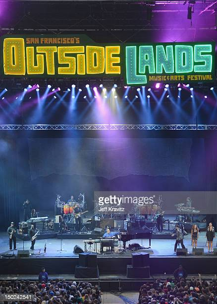 Musician Stevie Wonder performs at the Lands End Stage during day 3 of the 2012 Outside Lands Music and Arts Festival at Golden Gate Park on August...