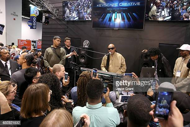 Musician Stevie Wonder performs for the crowd at the 2017 NAMM Show at the Anaheim Convention Center on January 21, 2017 in Anaheim, California.