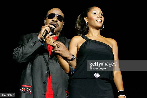 Musician Stevie Wonder performs live on stage with his daughter Aisha Morris at the O2 Arena on September 11 2008 in London England