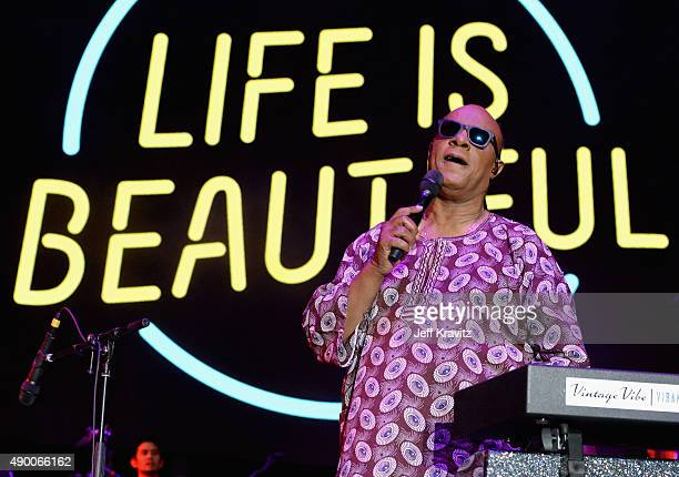 Musician Stevie Wonder performs onstage during day 1 of the 2015 Life is Beautiful festival on September 25 2015 in Las Vegas Nevada
