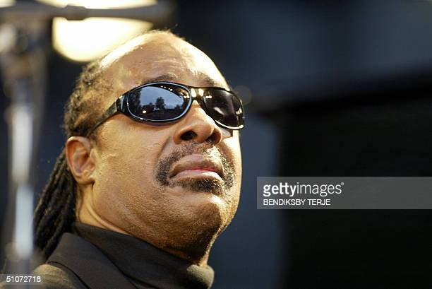 Musician Stevie Wonder pictured during his concert at the Jazz festival in Molde Western Norway 15 July 2004 He was close to tears at points through...