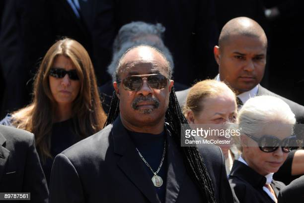 Musician Stevie Wonder stands outside St Francis Xavier Church following the funeral of Eunice Kennedy Shriver August 14 2009 in Hyannis...