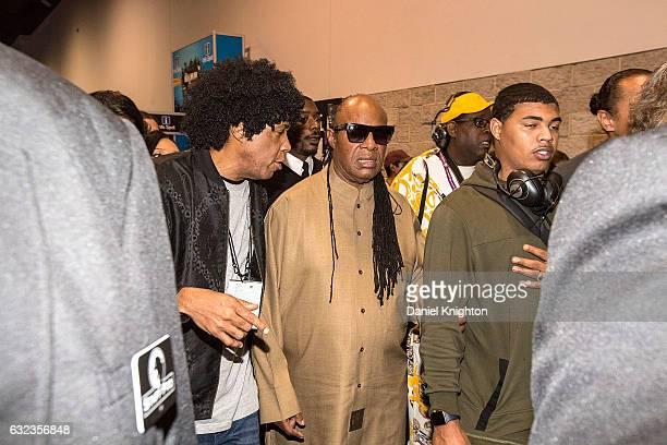 Musician Stevie Wonder walks the floor of The 2017 NAMM Show on January 21, 2017 in Anaheim, California.