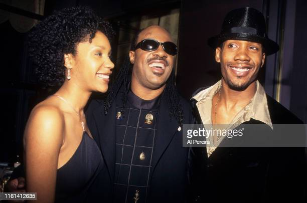Musician Stevie Wonder with his daughter Aisha Morris and one of his sons at a Grammy Party on February 261997 in New York Photo by Al...