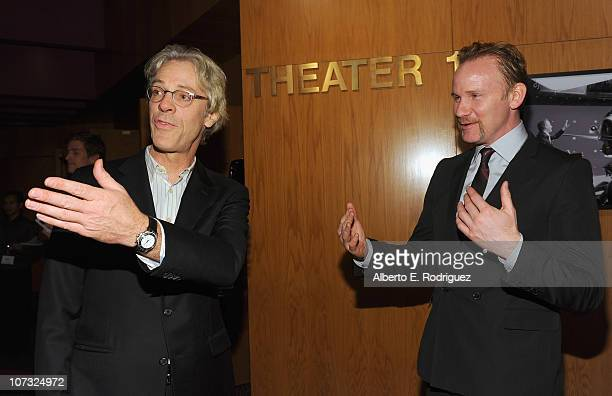 Musician Stewart Copeland and host Morgan Spurlock arrive at the International Documentary Association's 26th annual awards ceremony at the Directors...