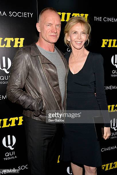 Musician Sting and producer Trudie Styler attend 'The Filfth' screening hosted by Magnolia Pictures and The Cinema Society at Landmark Sunshine...