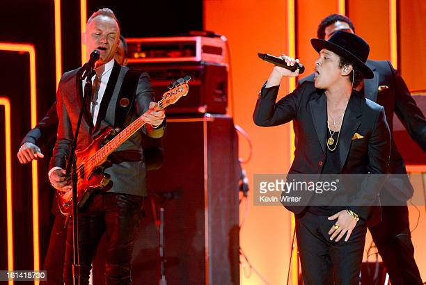 Musician Sting and singer Bruno Mars perform onstage during the 55th Annual GRAMMY Awards at STAPLES Center on February 10 2013 in Los Angeles...