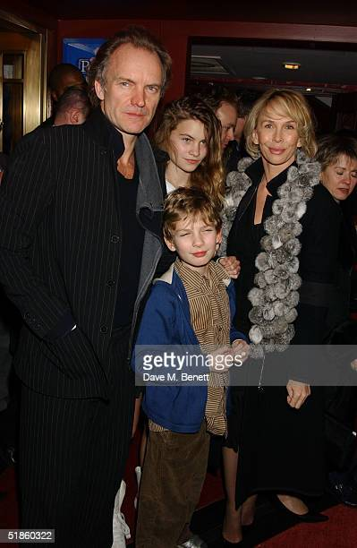 Musician Sting his wife producer Trudie Styler daughter Coco and son Giacomo attend the Mary Poppins Gala Preview ahead of tomorrow's press night at...