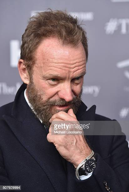 Musician Sting is interviewed during the NYC screening of the HBO Documentary Film 'Jim The James Foley Story' at Time Warner Center Screening Room...
