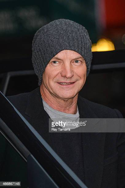 Musician Sting leaves the 'Late Show With David Letterman' taping at the Ed Sullivan Theater on February 4 2014 in New York City