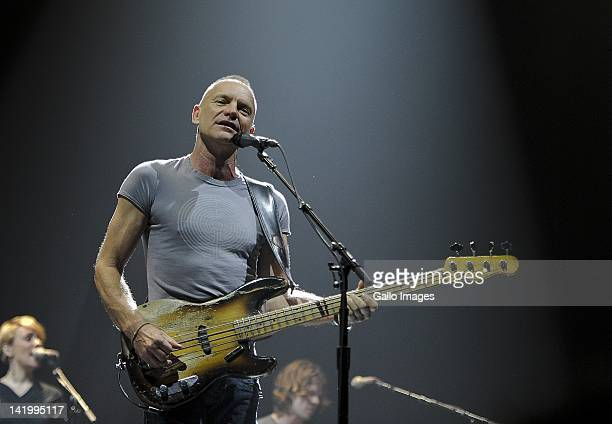 Musician Sting performs at the Grand West Arena on March 27 2012 in Cape Town South Africa His visit to South Africa forms part of his international...
