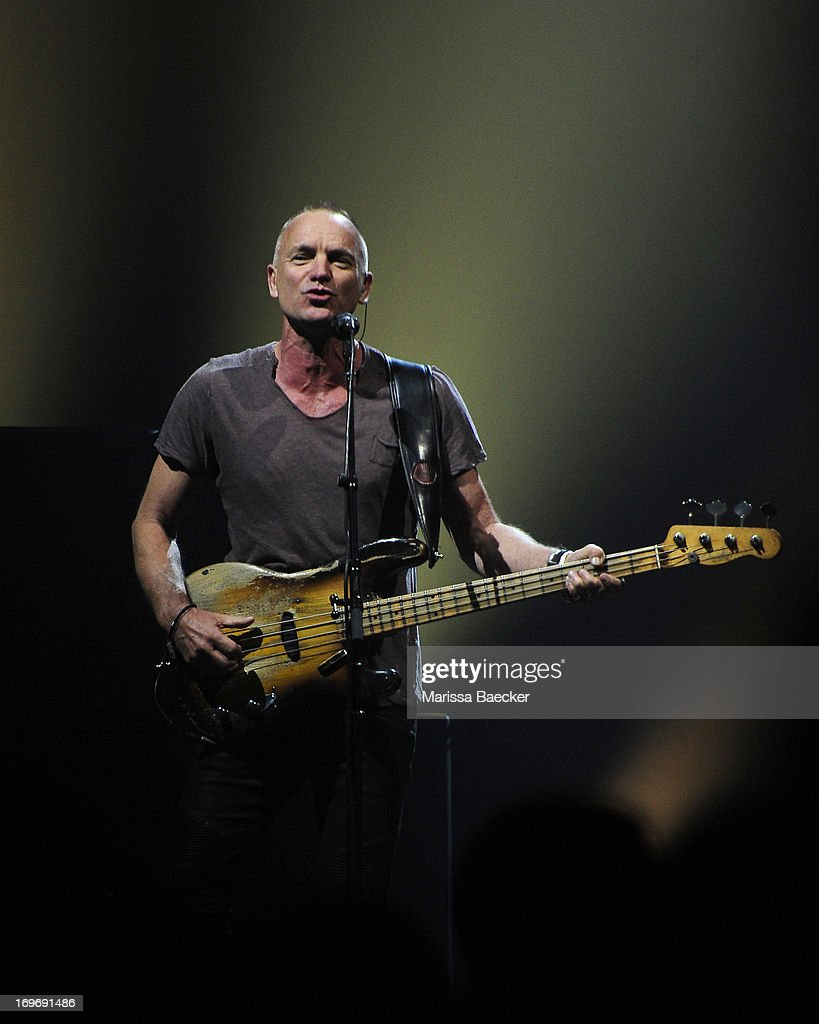 Musician Sting performs at the opening show of the Back to Bass Summer 2013 tour on May 30, 3013 at Prospera Place in Kelowna, British Columbia, Canada