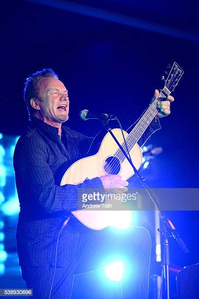 Musician Sting performs during the National Music Publishers' Association Annual Meeting at Marriott Marquis Times Square on June 8, 2016 in New York...