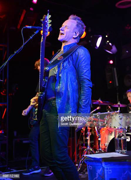 Musician Sting performs onstage during KROQ's Breakfast with Kevin and Bean at the Red Bull Sound Space on August 31 2016 in Los Angeles California