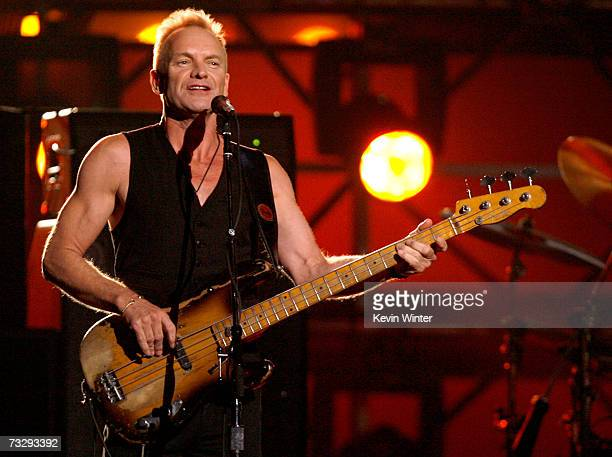 Musician Sting performs 'Roxanne' onstage with the band The Police opening the 49th Annual Grammy Awards at the Staples Center on February 11 2007 in...